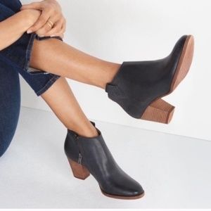 Madewell Billie boots black leather stacked heel